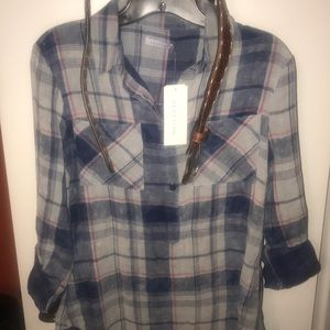 Kenneth Cole Reaction Tops - NWT SOFT BLUE FLANNEL